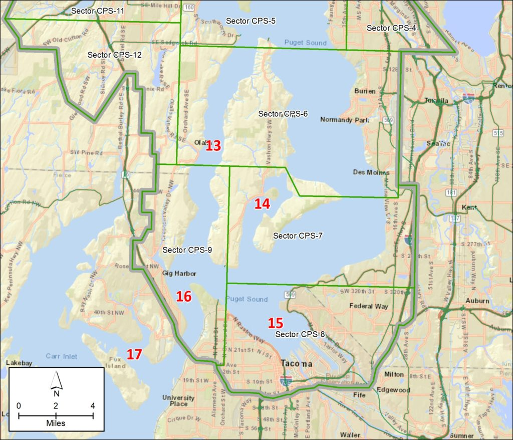 Map of southern portion of GRP with numbers corresponding to list above