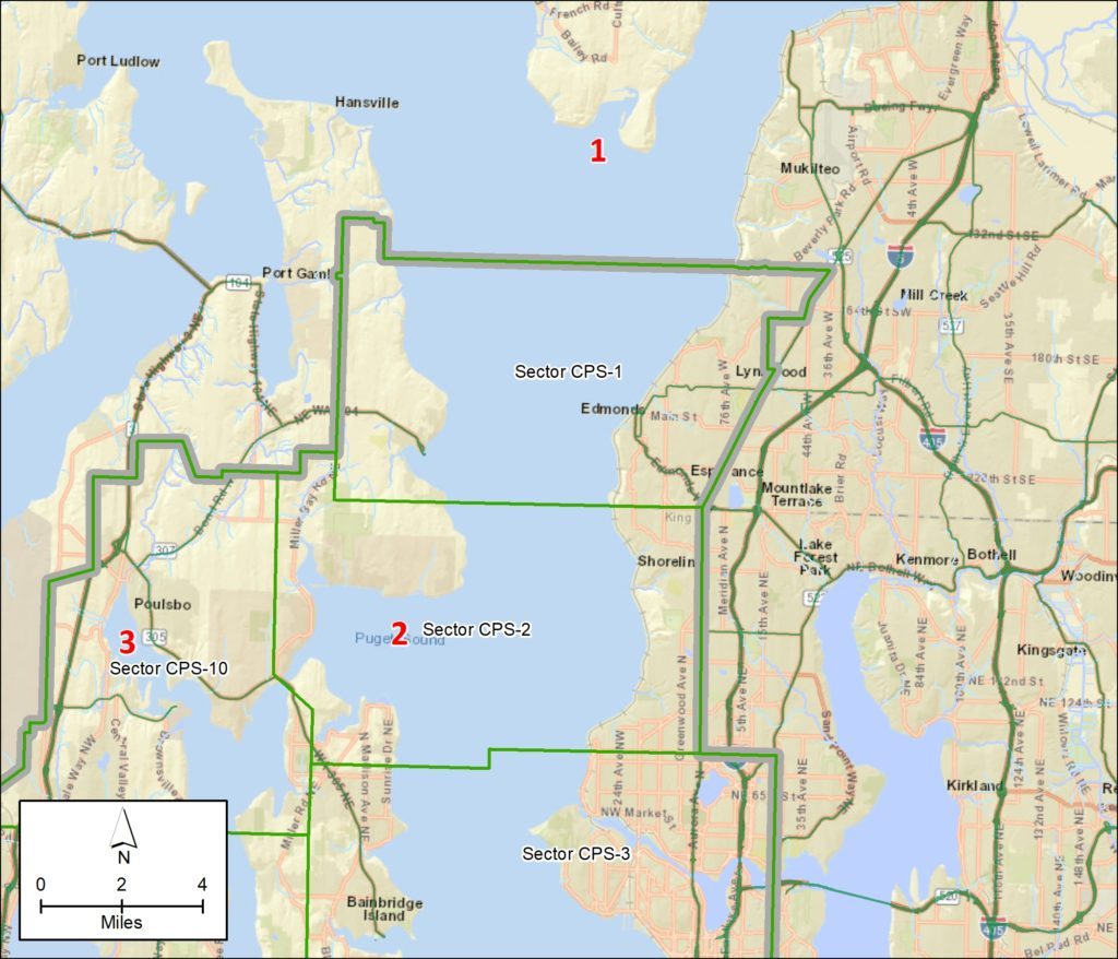 Map of northern section of Central Puget Sound GRP with numbers corresponding to the locations noted above