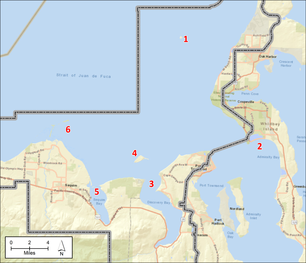 A map of the eastern third of the Strait of Juan de Fuca, including Sequim to Whidbey Island. Red numbers on the map correspond to the numbered locations in the text above.