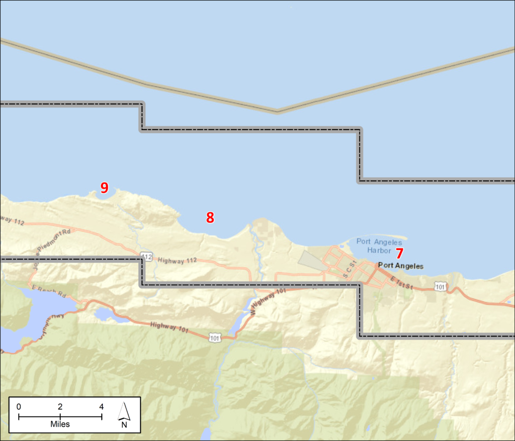 A map of the middle third of the Strait of Juan de Fuca, including Port Angeles to Port Crescent. Red numbers on the map correspond to the numbered locations in the text above.